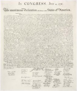 Pursuit of Happiness: Life, liberty and the pursuit of happiness on an engraving of the Declaration of Independence