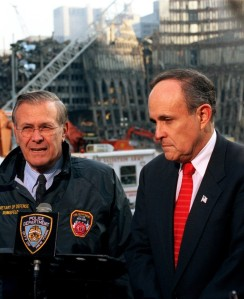 Happiness is Awareness: Not a cause for happiness. Ground zero, with Rumsfeld and Giuliani.